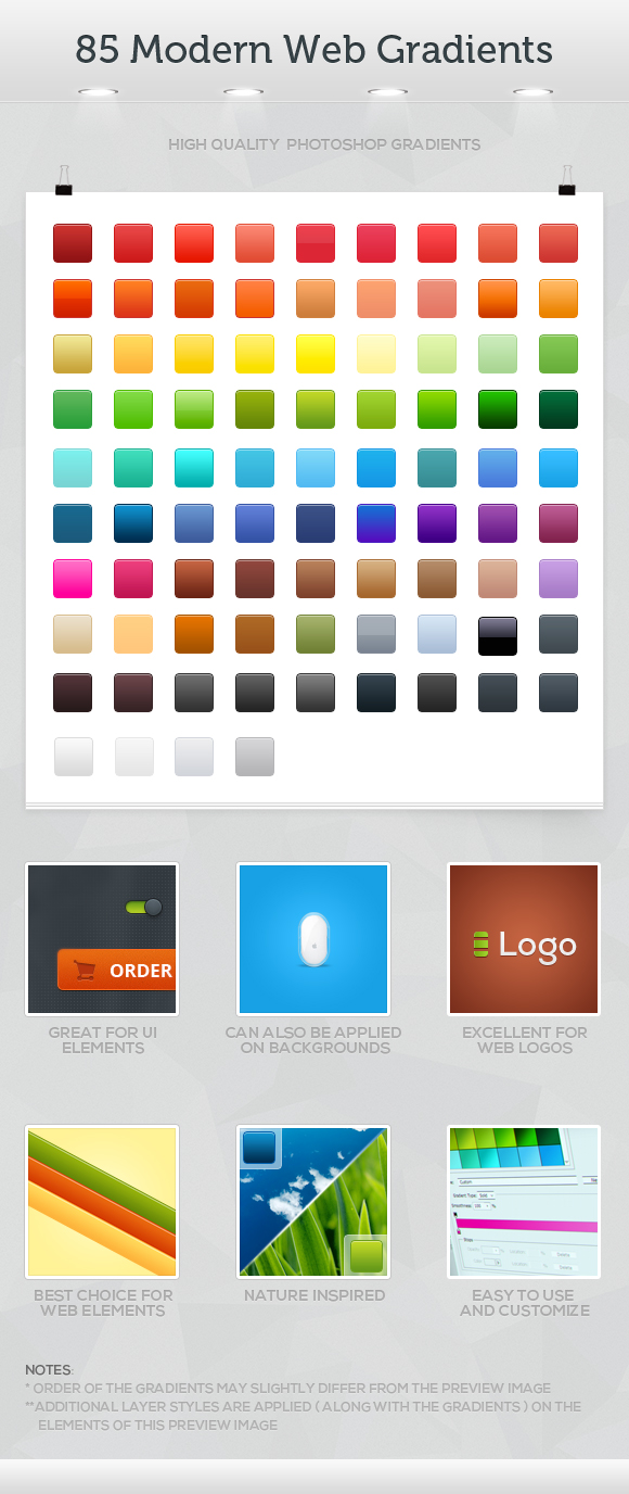 85 Modern Web Gradients by ICEwaveGfx
