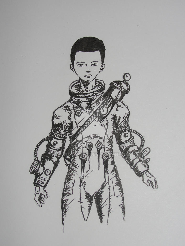 Inktober 2015 #1 Steampunk space suit by Pentatomid