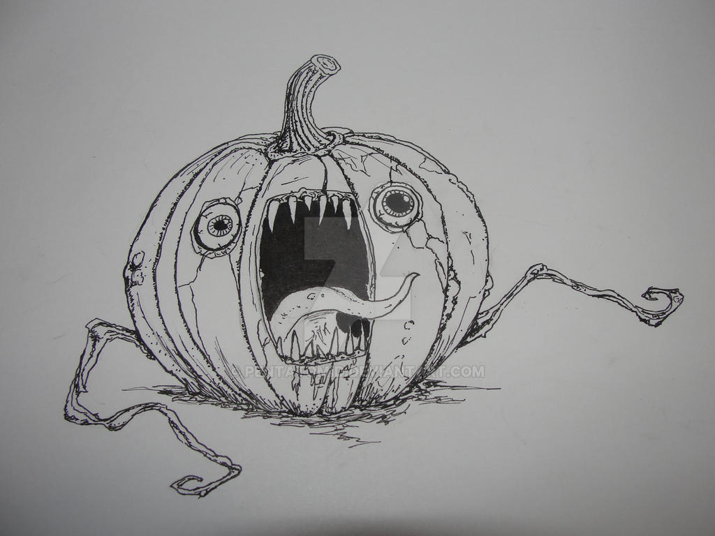 Inktober #31 Screaming pumpkin by Pentatomid