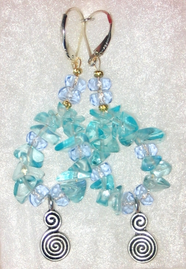 Aquamarine Chip Earrings by bumblefly