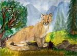 Watercolor Cougar