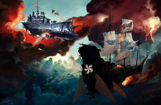 ships battle in the sky