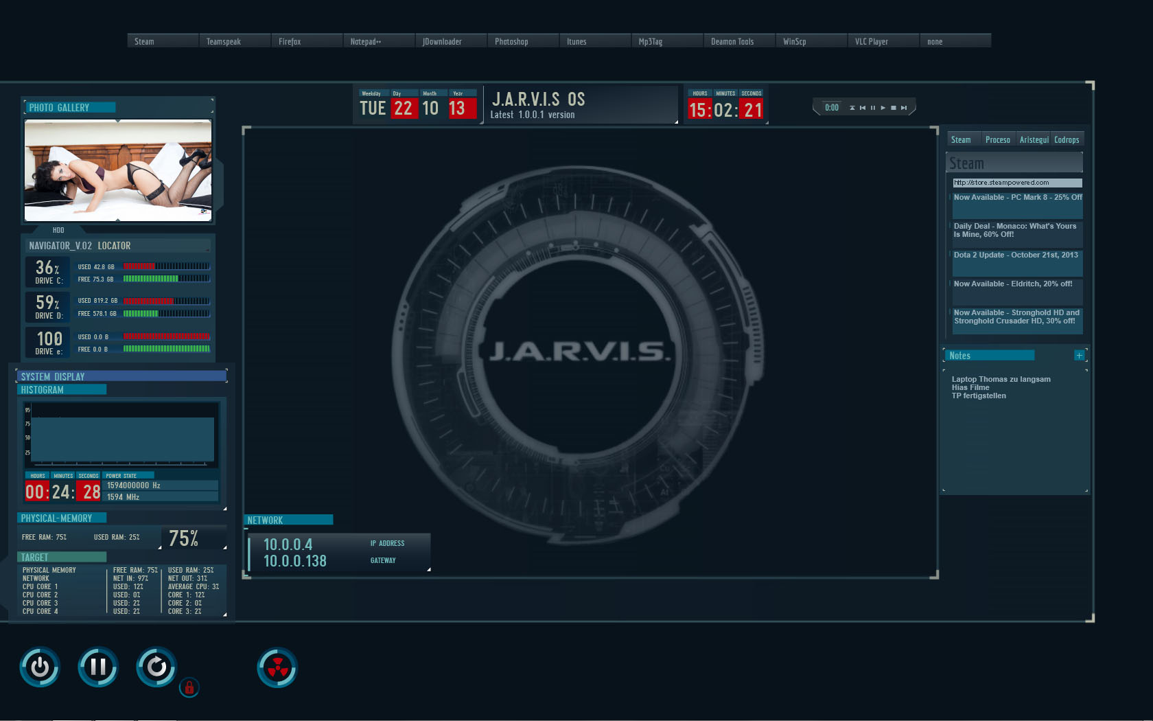 Jarvis highpitched os 1 1 1 by 5ynt3t1k on deviantart - Mainframe wallpaper ...