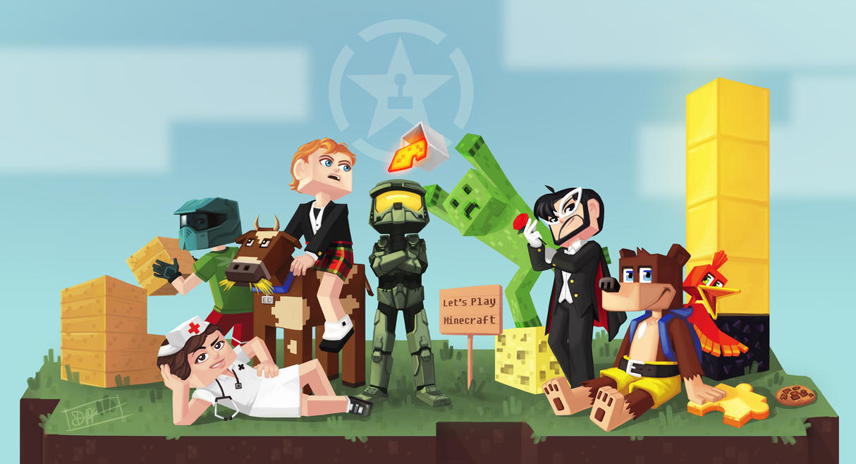 Simple Wallpaper Minecraft Poster - let_s_play_minecraft_with_the_achievement_hunters_by_paperwick-d6d95gy  Graphic_527293.jpg
