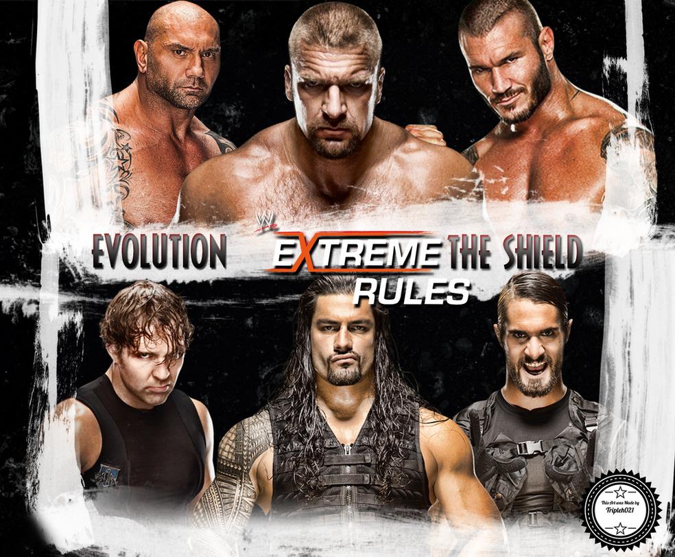 WWE Extreme Rules Shield vs Evolution