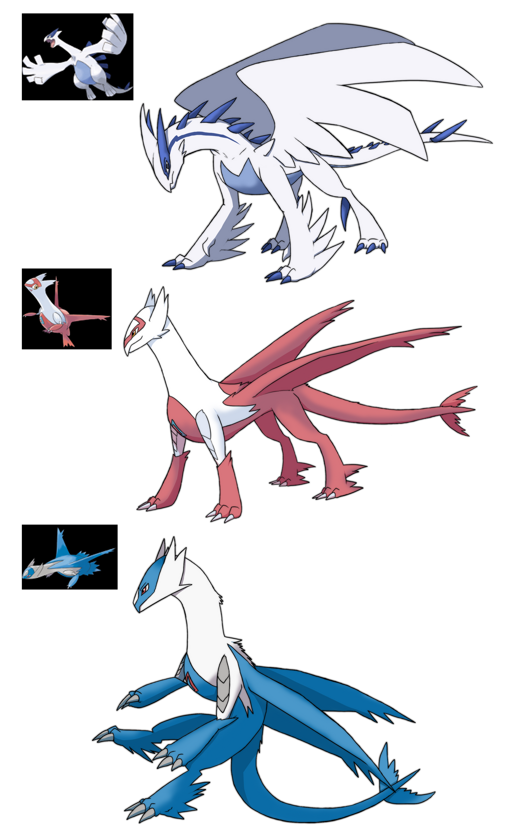 Custom Dragons Lugia Latias Latios by Eternity9 on DeviantArt