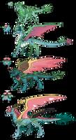 Pokemon Themed Dragon Adopts Grass starter set 01 by Eternity9