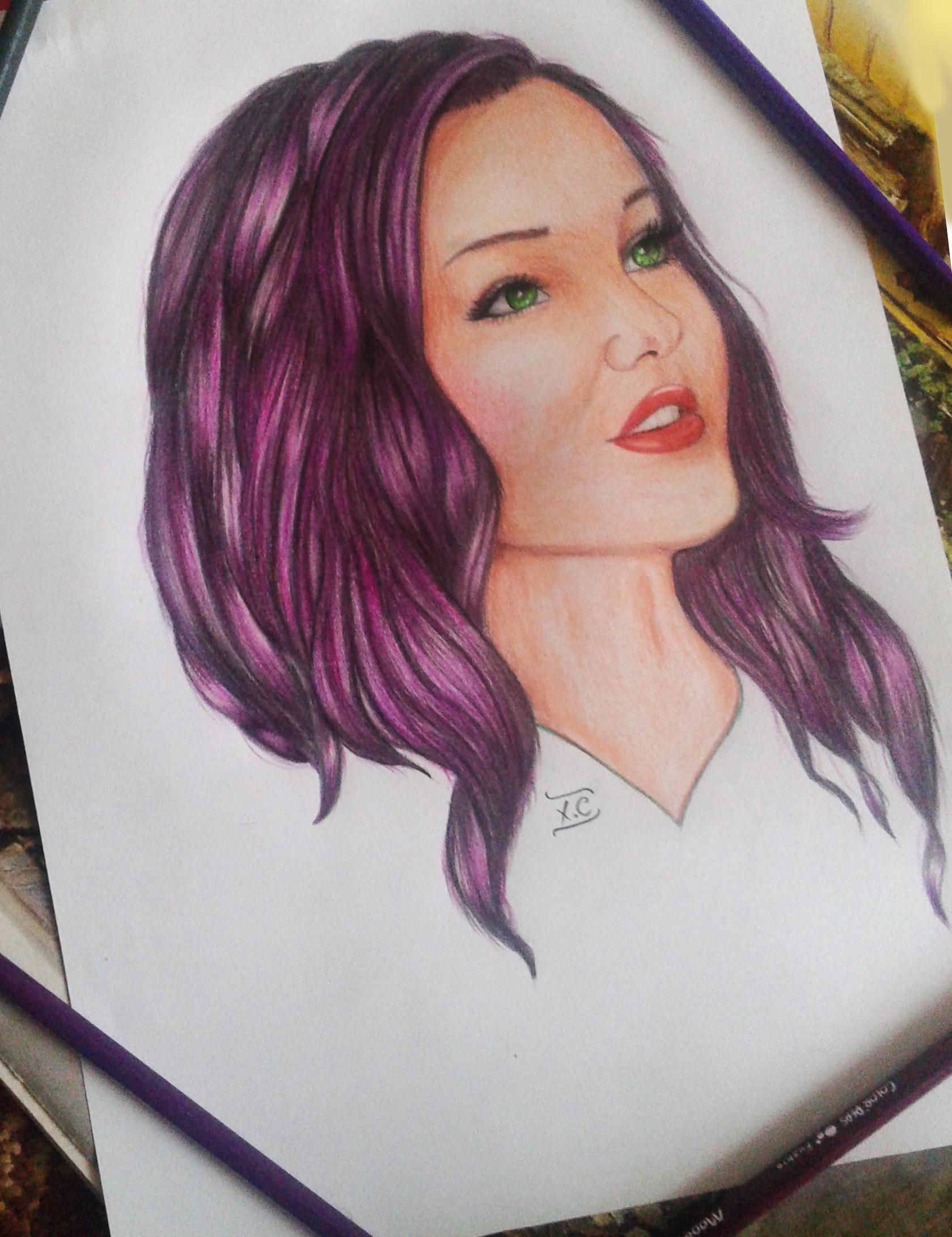 image Dove cameron with purple hair looking like a cartoon