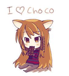 Cute furry chibi eating chocolate