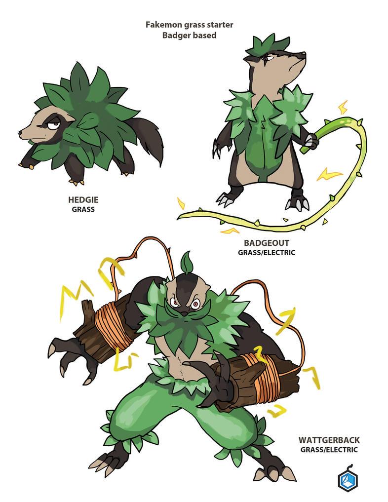 Fakemon Grass Starter Badger by BombOPAUL