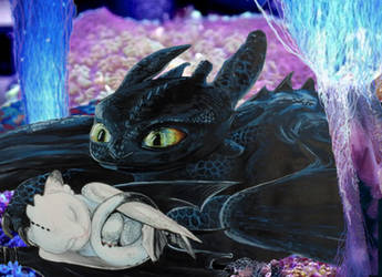 Toothless and his daughter by Greenminerthescoffer
