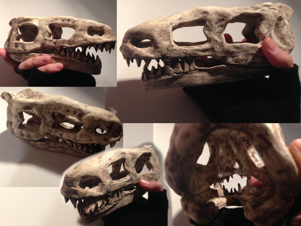 Clay Dinosaur Skull Sculpture by Gecko998