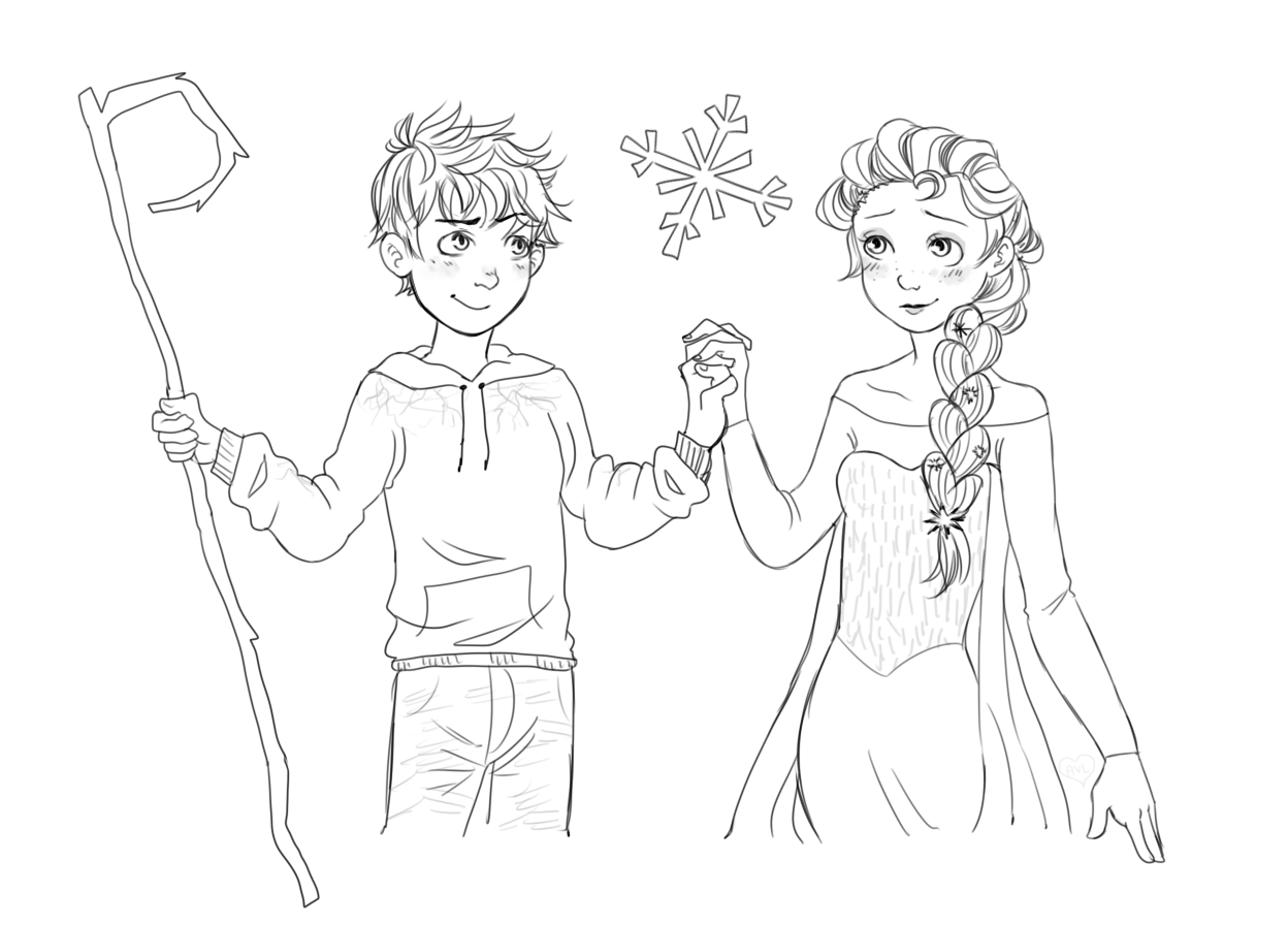 Jack Frost And Elsa Coloring Pages Coloring Pages