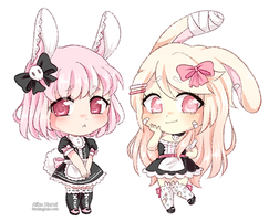 [C] Veronica and Mimi crayon chibis by blushingbats