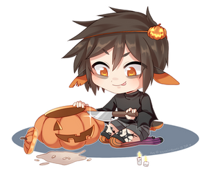 [OC] YCH Finished Example!! PUMPKIN MURDER by blushingbats