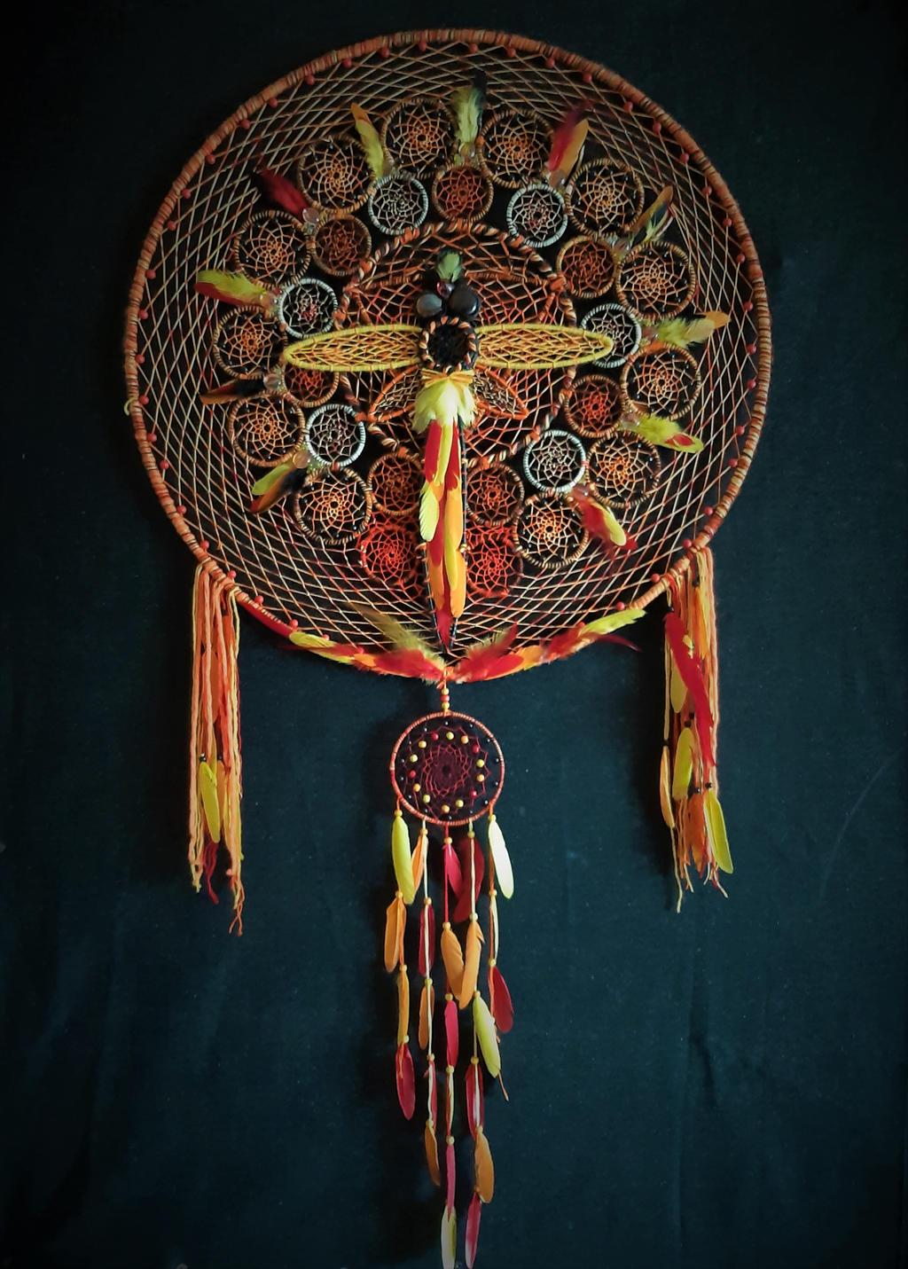 Dragonfly mandala giant dream catcher