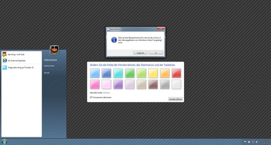 Interactive Windows 7 GUI