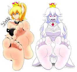 Random Draw! Bowsette and Boosette Feet Soles by SenkenSword