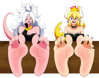 CM: Bowsette and Majin Android 21 feet by SenkenSword