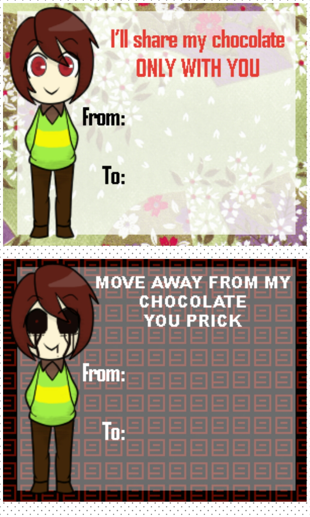 Crappy Valentine Cards Starring Chara LATE by Naive41Rika on – Late Valentine Cards