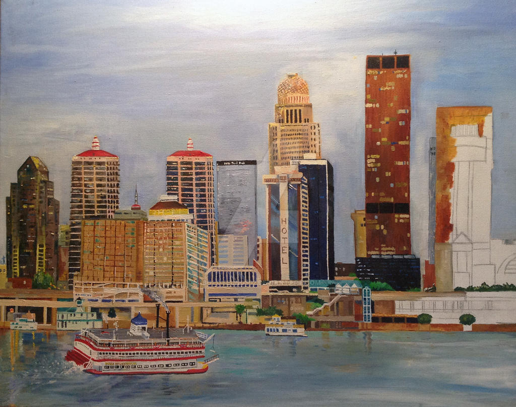 louisville ky skyline 18x24 oil painting by