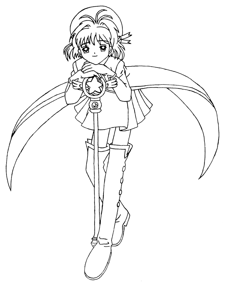 Line Drawing Quiet : Card captors free coloring pages