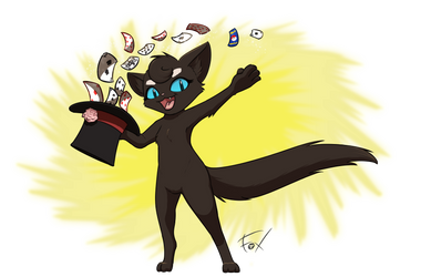 Magic Cat in a Magic Hat by FalloutFoxDraws