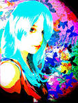 Blue Girl With Butterflies