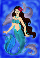 Mermaid And Dolphins by PridesCrossing