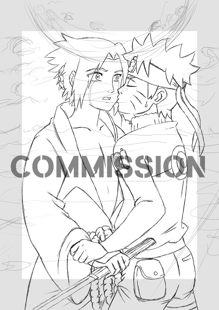 Sasuke and Naruto - COMMISSION work in progress by Fighter4luv