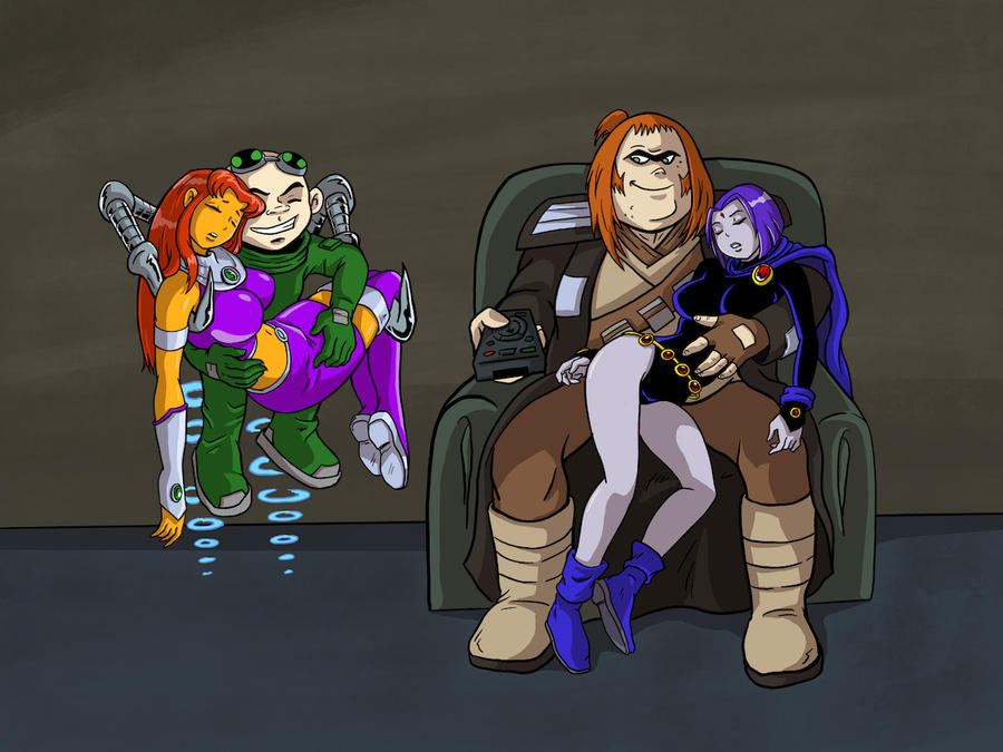 Teen Titans Starfire And Raven S Bad Tv Day By Cuttlesquid