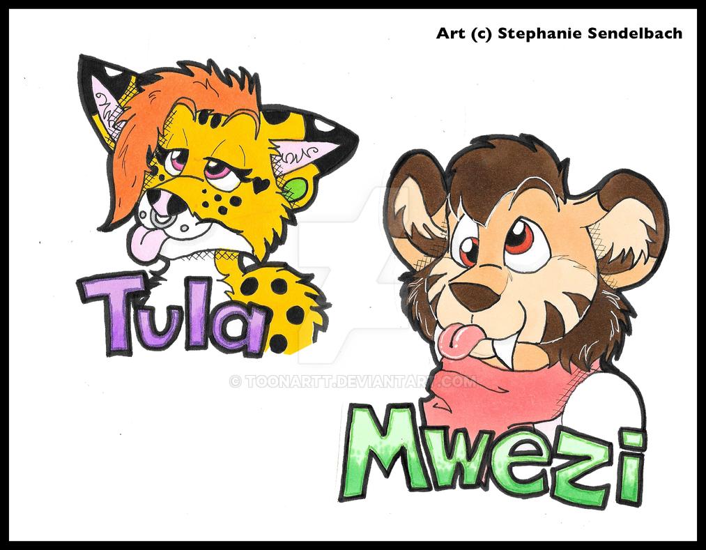 Tula and Mwezi Badges by toonartt