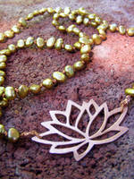 Lotus with Pearls Necklace by MoonLitCreations