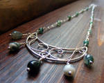 Moss Agate Moon Necklace