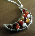 Fire Opal Moon Necklace