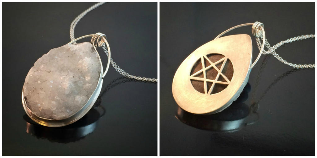 Druzy crystal hidden pentacle necklace by moonlitcreations on deviantart druzy crystal hidden pentacle necklace by moonlitcreations aloadofball Gallery