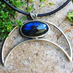 Labradorite Moon Necklace  by MoonLitCreations