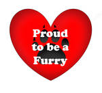 Red Heart, Black Paw Design - Proud to be a Furry