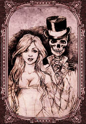 A witch and her skeleton