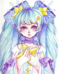 miku watercolor  by Saiko-ugh