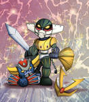 Fanart - Jeeg Robot  and Goldrake ( chibi ) by falcionifrancesca