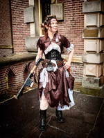 steampunk costume : wrecked airship passenger by sombrefeline