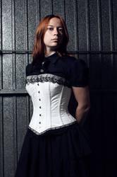 Victorian white corset by sombrefeline