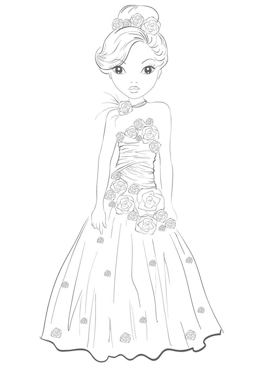 How To Draw Princess Dresses Sketch Coloring Page