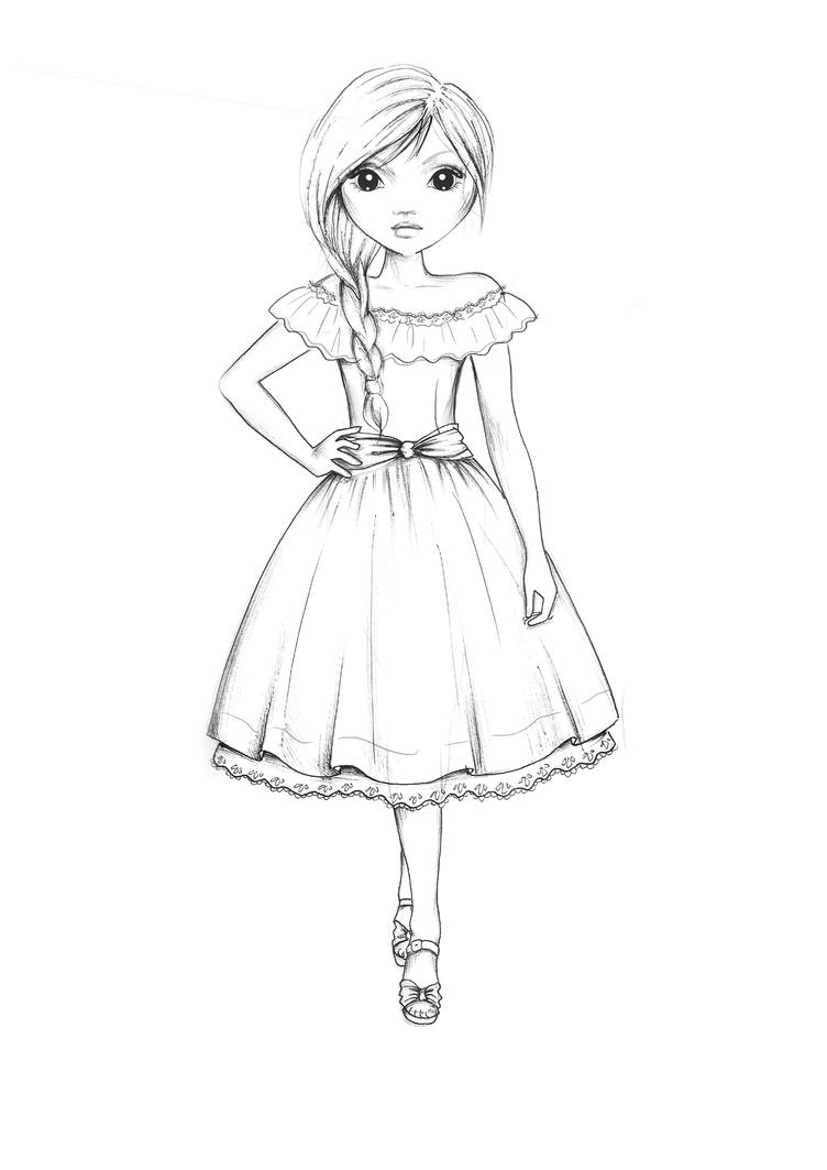 country style dress outline by top model coloring pages