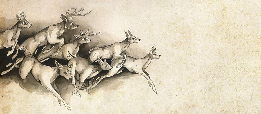 Ink deer by Mystalia