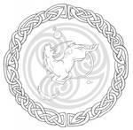Celtic unicorn line art