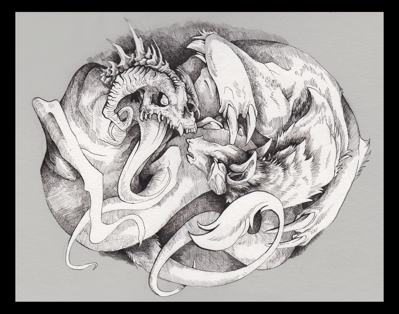 Ourobouros (ink) by Mystalia