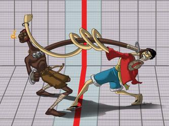 dhalsim vs luffy final by etubi92