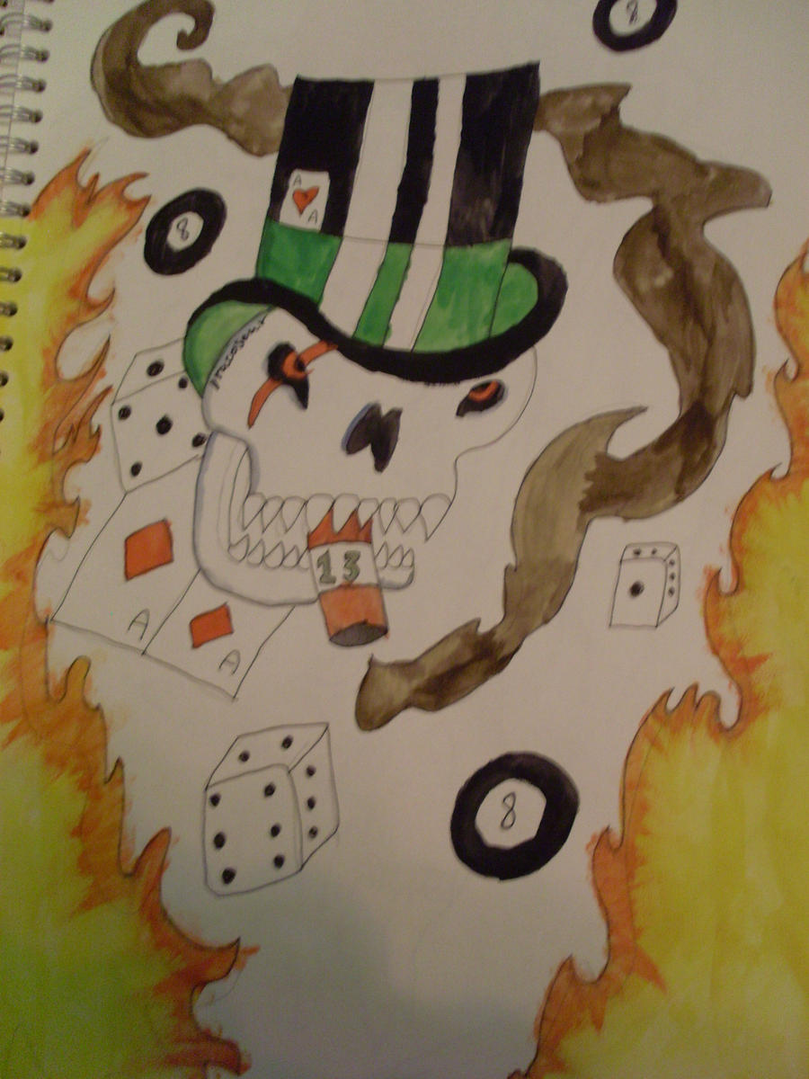 8 Ball Skull Tattoo by dracosear